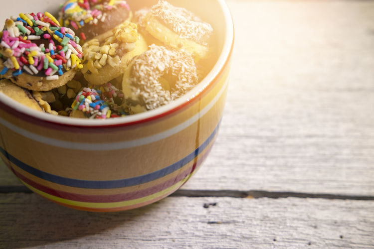 Close-up of candies in bowl on table