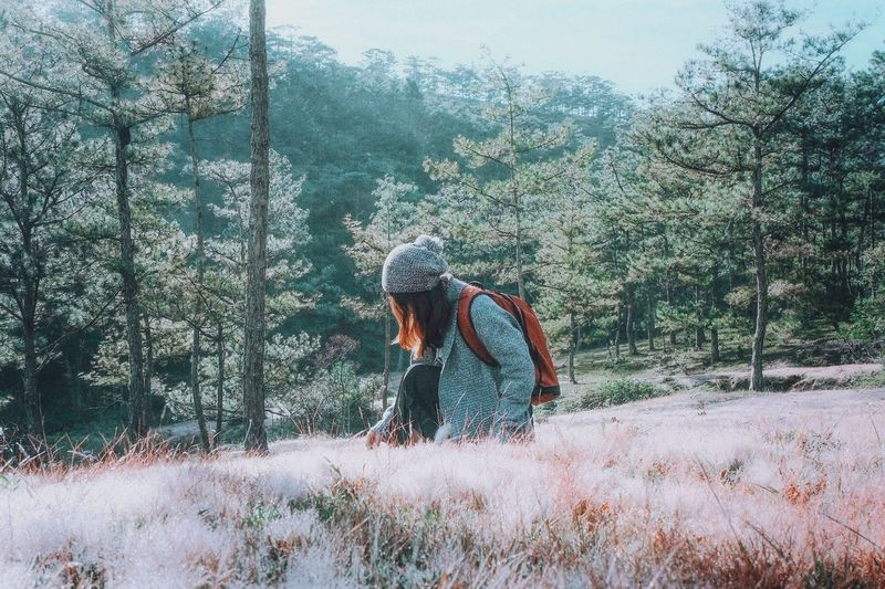 Full length of man amidst trees on field in forest