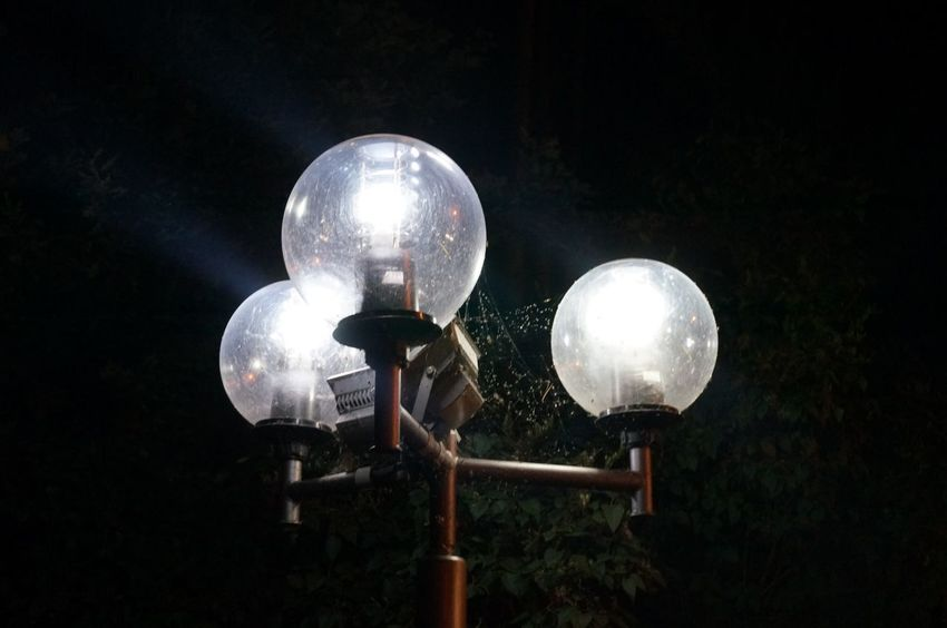 Night Lighting Equipment Street Light No People Street Low Angle View Sphere Glowing Light Bulb Close-up Metal Electric Light White Color Railing Sky Nature Electricity  Illuminated Light Outdoors