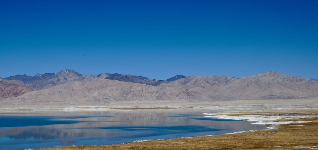 Scenic view of lake by mountains against clear blue sky