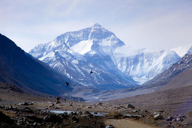 Landscape against snowed mountains