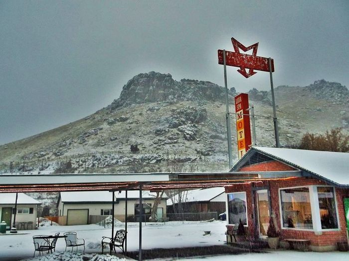 Lava Hot Springs Architecture Building Exterior Built Structure Man Made Object Nature And City Travel Mountain Mountain Range Outdoors Season  Signboard Sky Snow Text Western Script Winter Snow ❄ Lifestyles Motel Entrance Colorful HDR Human Representation Waiting Area Natural Light Travel Photography