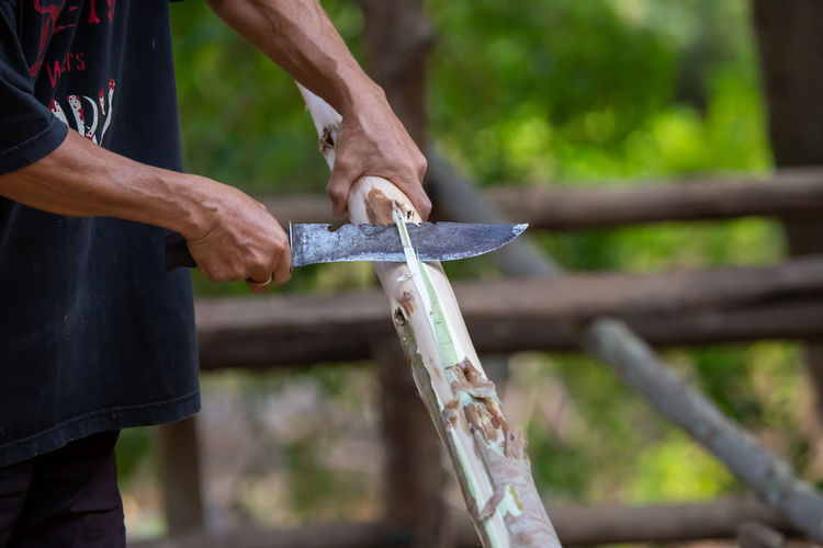 Close-up, a man's hand was using a steel knife sheathed the bark of eucalyptus wood  house design