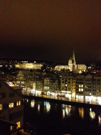 Cityscapes_collection Reflections In The Water Grossmünster Zürich Züri Niederdorf , Zürich Night Lights Illuminated Building Exterior City No People Sky Built Structure Urban Skyline Outdoors Travel Destinations Water