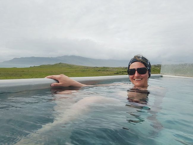 EyeEm Selects Swimming Outdoors Only Women Portrait Vacations Smiling Water Iceland_collection Iceland Breathing Space Take A Bath Hot Spring Relaxation Floating Selfie ✌ Scenics Leisure Activity