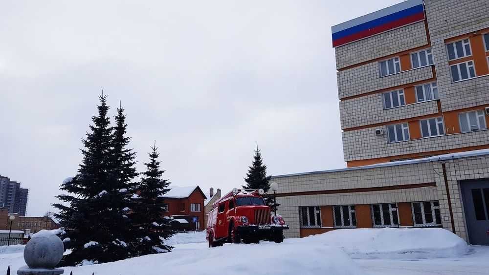 Winter Snow Tree Cold Temperature Outdoors Christmas No People Day Sky Fire Engine At Kazan Emergency Situations Ministry
