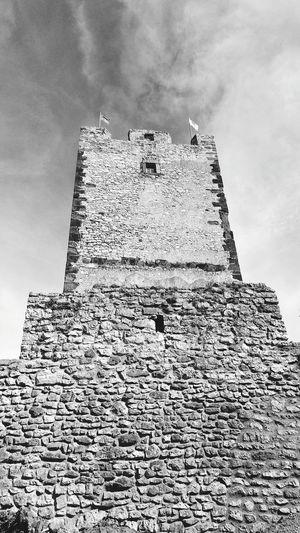 Kinizsi Castle Black & White Tower No People History Sky Cloud - Sky
