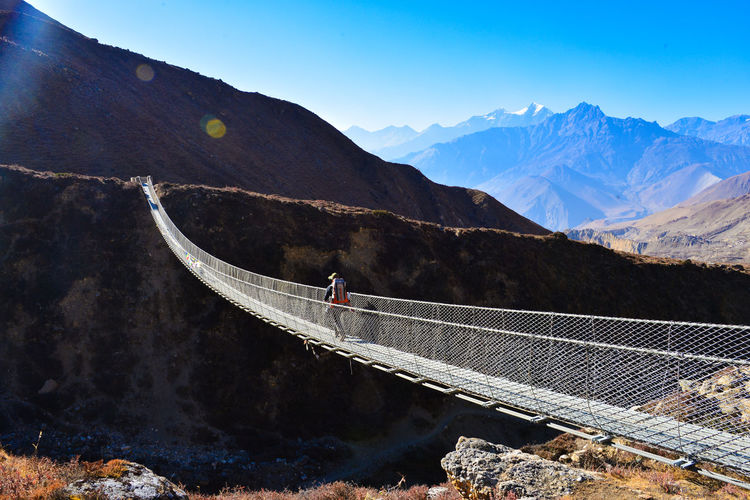 Annapurna Backpacking Fearless Hiking Nepal Trekking Mountains Nepal Travel Suspension Bridge