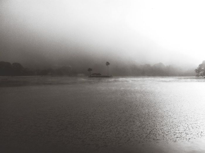 Scenic view of lake during foggy weather