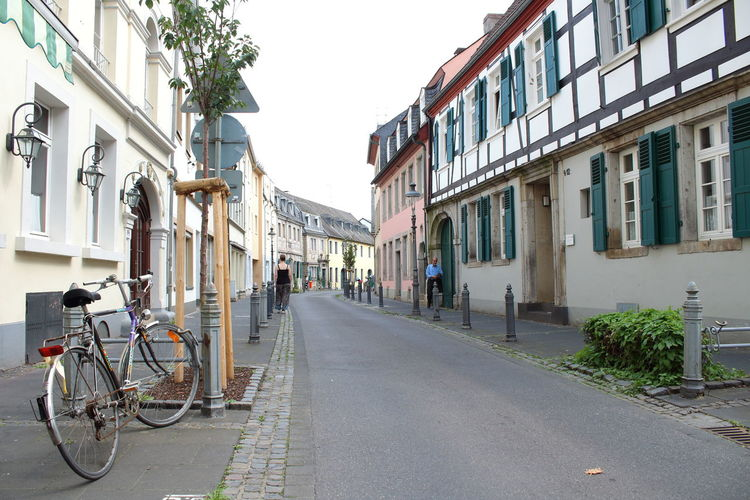 Architecture Bicycle Building Exterior Built Structure City Clear Sky Day Germany Land Vehicle Mode Of Transport No People Outdoors Sky Small Town Small Town Life Street The Way Forward Timber Frame Transportation
