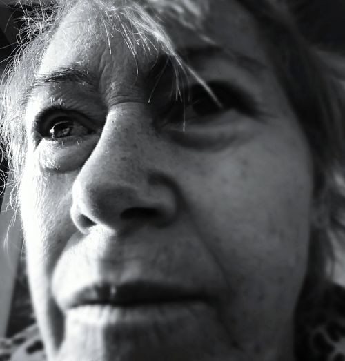 Close-up of thoughtful mature woman