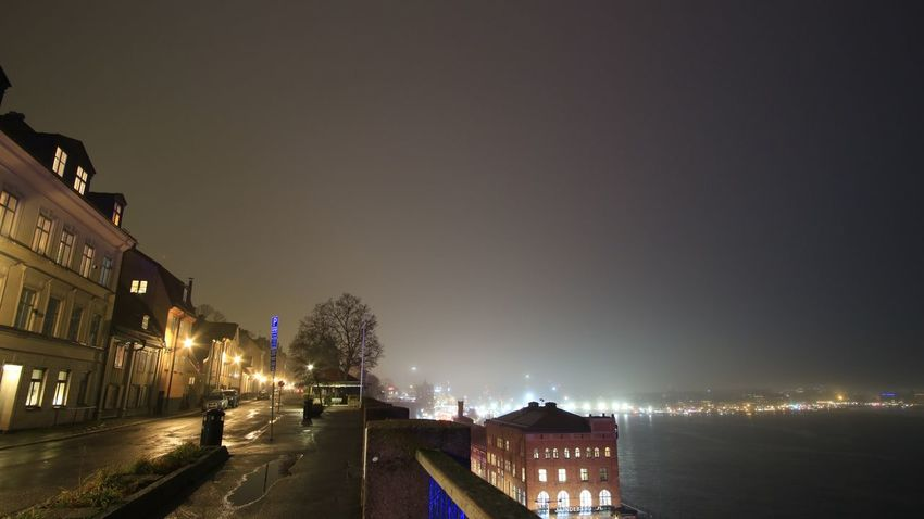 Stockholm, Sweden Foggy EyeEm Selects Architecture Illuminated Night Water Building Exterior Built Structure City Street Street Light