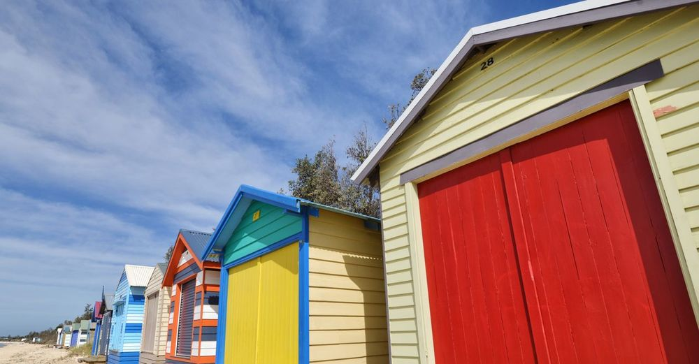 Bathing House Australia Melbourne Architecture Built Structure Building Exterior Sky Low Angle View Cloud - Sky Nature Building Day Multi Colored Outdoors No People Blue Sunlight House Beach Hut In A Row