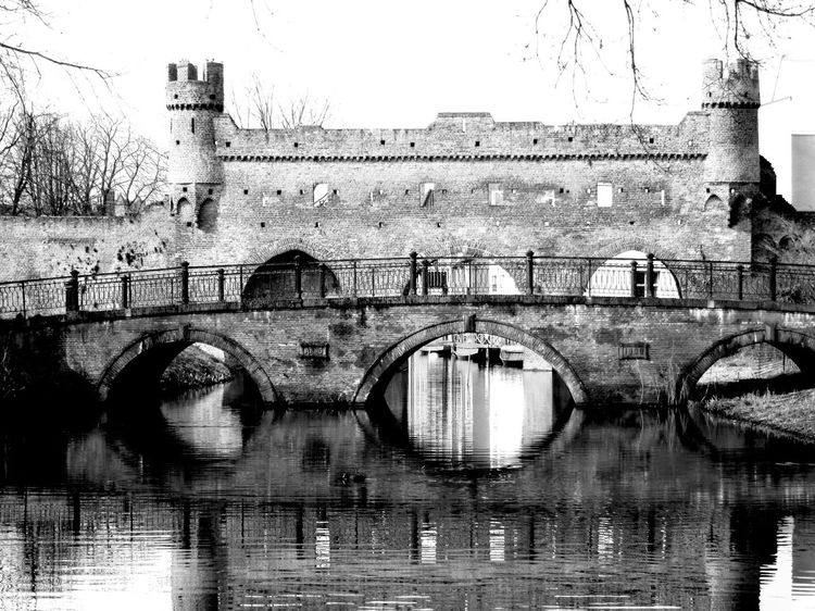 Gate Citygate Cityentrance Poort Black And White Blackandwhite Blackandwhitephotography Zutphen Berkel River Water flections and shadows] Reflections White