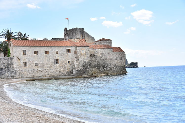 View of fort against sea