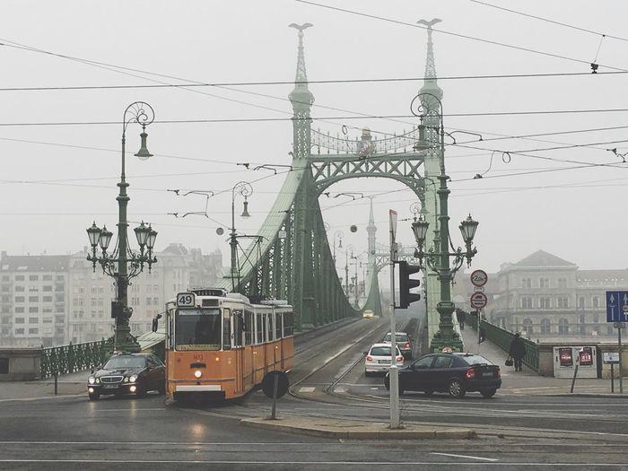 Tram Foggy Cold Bridge It's Cold Outside Vintage Yellow Pastel Power