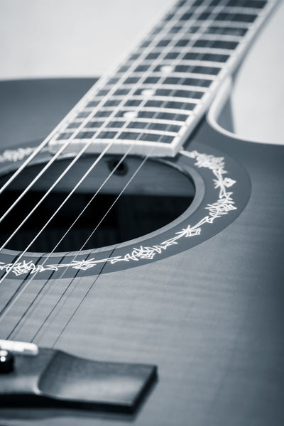 Acoustic Guitar Arts Culture And Entertainment Black & White Black And White Blackandwhite Bridge Close-up Day Exceptional Photographs EyeEm Best Shots - Black + White Fretboard Fretboard Guitar Guitar Body Guitar Bridge Guitar Sound Hole Hello World Indoors  Monochrome Music Musical Equipment Musical Instrument String No People Playing Guitar Sound Hole Place Of Heart