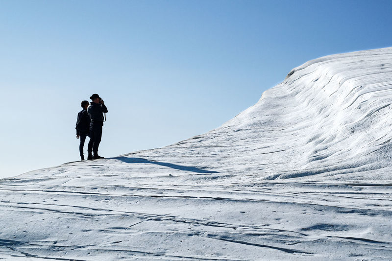 People on snow covered landscape