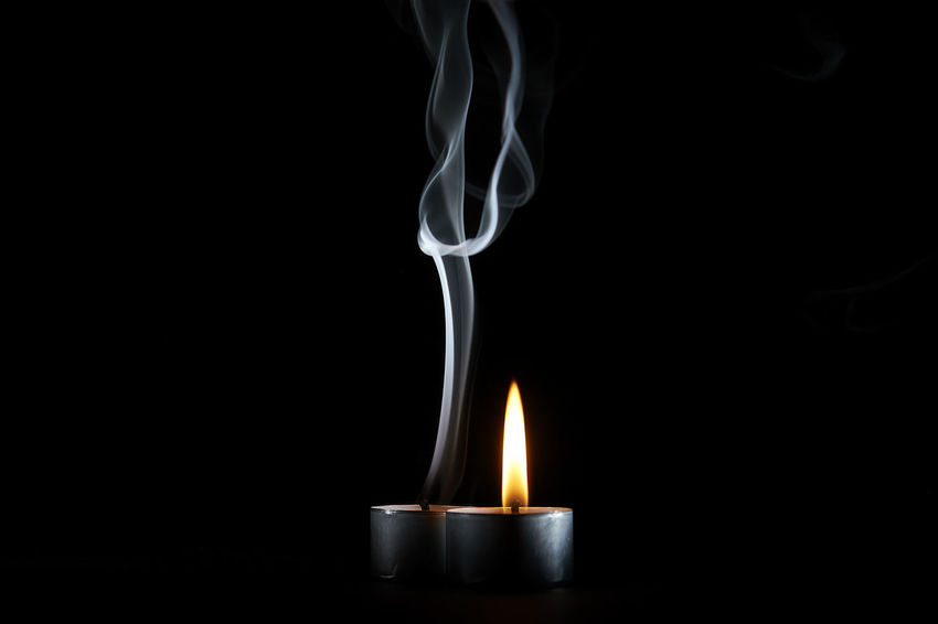 ZeitLicht_2017_04_9457 Black Background Burning Candle Flame Heat - Temperature No People Smoke - Physical Structure Studio Shot Swirl