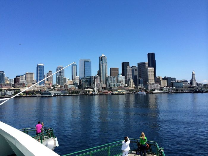 A ferry ride to Seattle Architecture City Day Modern Outdoors Seattle Skyline Skyscraper Transportation Travel Travel Destinations Water