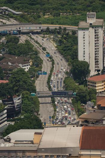 High angle view of traffic jam seen from menara kuala lumpur tower