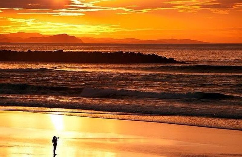 Beachphotography Sunset_collection Coast Line  Final Day North Of Spain EyeEm Best Shots Sea And Sky Water Reflections Spanish Coastline Orange Sky Colours Sun Natural World Natural Water Nature_collection