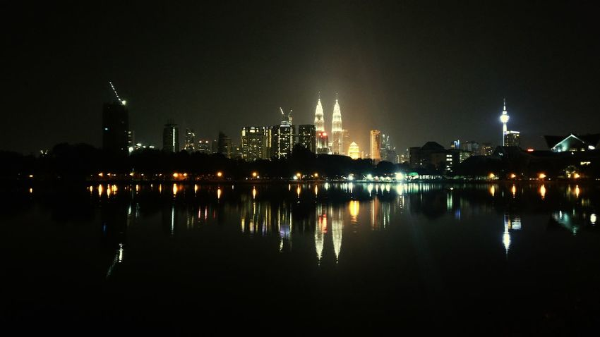 Kuala Lumpur Convention Centre (KLCC) Night Reflection City Illuminated Business Finance And Industry City Life Skyscraper No People Cityscape Sky Outdoors Water Architecture Urban Skyline