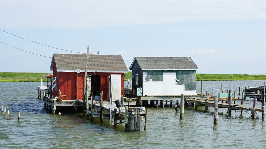 Tangier Island crab shack Chespeake Bay Tangier Island, Va Building Exterior Built Structure Commercial Fishing, Dock, Lobster, Lobstermen, Rope, Floats Crab Shack Water Waterfront Wood - Material