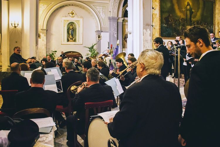 "Basilica Minore Maria SS. Incaldana - Mondragone Celebrazione in onore di Santa Cecilia. Banda ""Città di Mondragone"" Adult Adults Only Beginnings Bridegroom Ceremony Indoors  Large Group Of People Life Events Mid Adult Musician People Place Of Worship Religion Wedding Wedding Ceremony"
