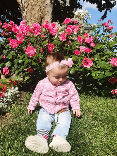 Flower Day Nature One Person Growth Outdoors Sitting Real People Childhood Blond Hair Grass People