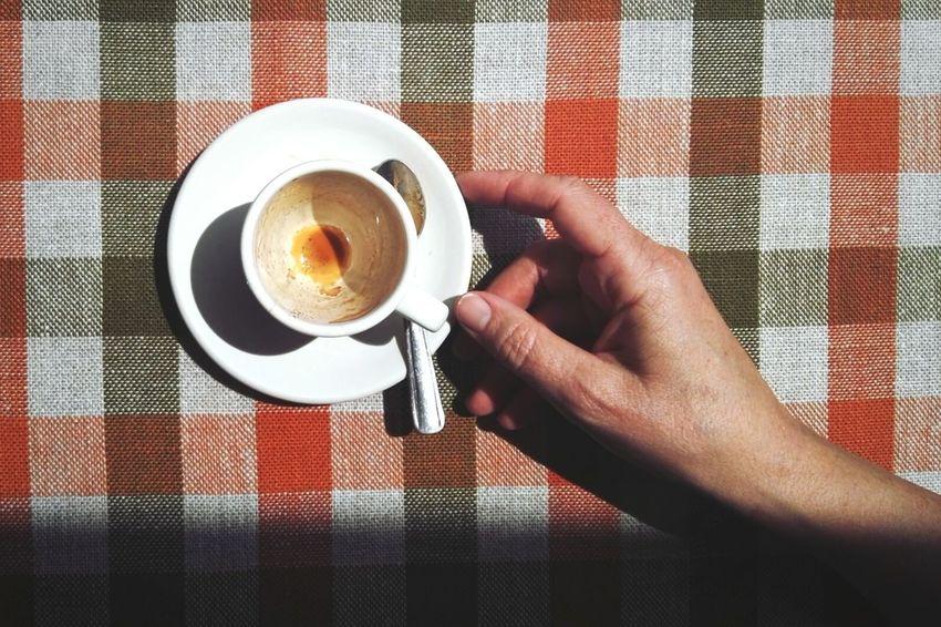 Coffee Hand Woman Espresso Empty Cup Italy Liguria Summer