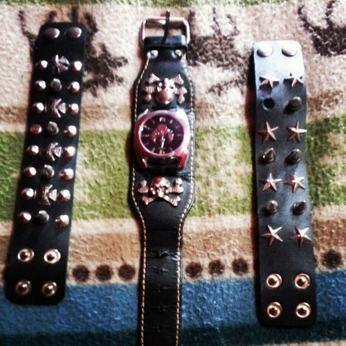 My new Rock Watch and Cuffs Spikes skulls rock&roll