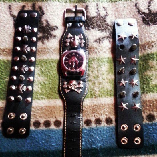 My new Rock Watch and Cuffs Spikes skulls rock&roll