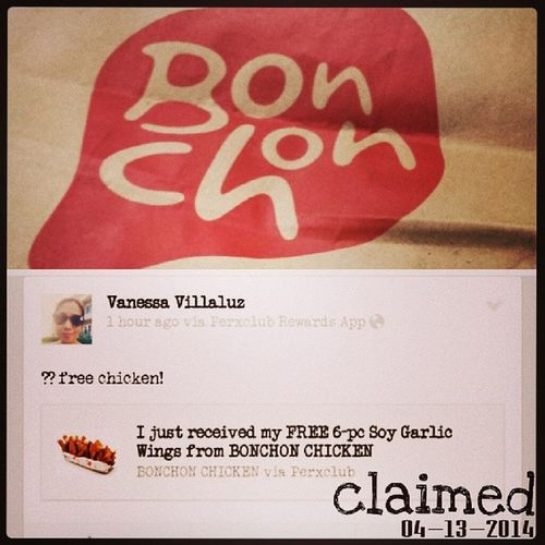 Claimed. Yummy BonChon wings for dinner. ?? The best things in life are free. Soooo true! Hehe... 100happydays Vs100HappyDays Perxclub