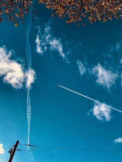 Sky Cloud - Sky Vapor Trail Low Angle View Smoke - Physical Structure Nature Blue