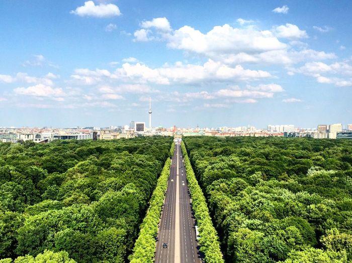 Aerial View Of Road Against Sky In City