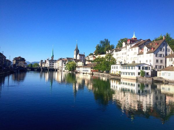 Switzerland Limmatquai Zürich Mirror Reflection Peaceful Idyllic Scenery Quality Time Travel Destinations Travel Photography Water Blue Clear Sky Outdoors Eyeem Market EyeEm Best Shots IPhoneography Eyem Gallery