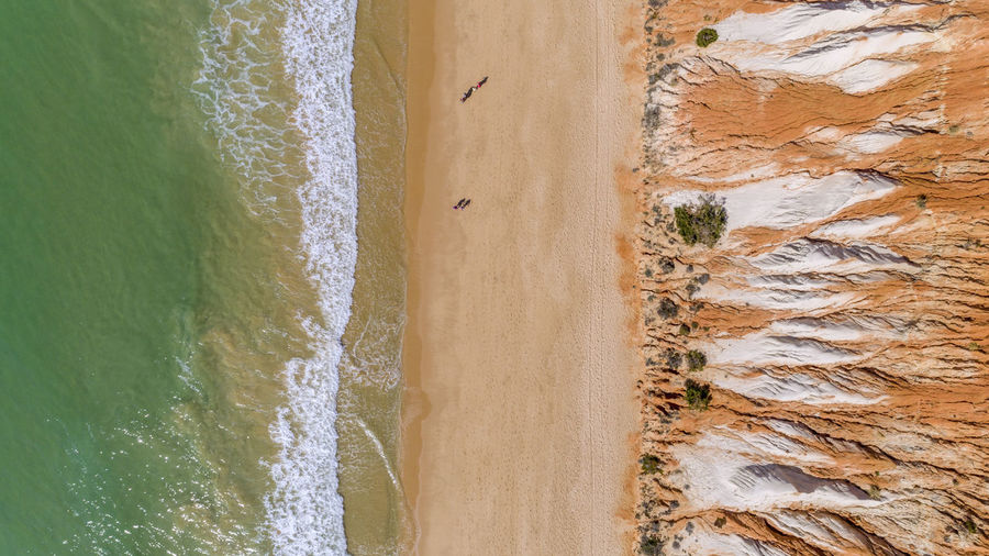 Aerial view of dramatic landscape by beach