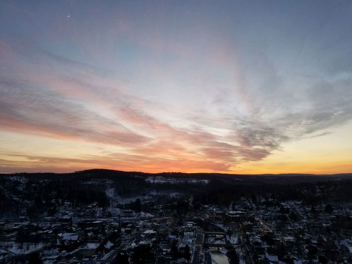 NEPA SUNSETS Sunset No People Landscape Sky Nature Scenics Tranquility Tranquil Scene Outdoors Beauty In Nature Building Exterior Winter Cityscape City Snow Cold Temperature Architecture Day