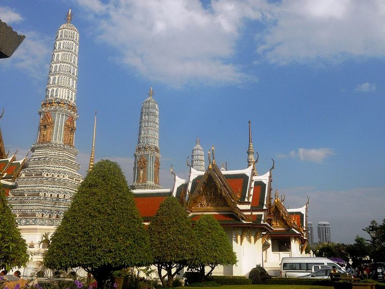 Architecture Building Exterior Built Structure Day Green Color Low Angle View Outdoors Sky Skyscraper Spirituality Tower Travel Destinations Tree Wat Prakeaw Bangkok วัดพระแก้ว
