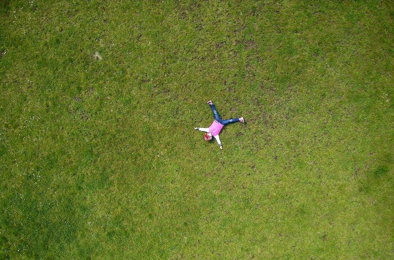 High angle view of girl on field