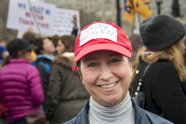 Nasty Woman sign in cap. Women's Solidarity March in Toronto, Canada. January 21, 2017 marked the history of the capital city of Ontario with one of the largest protest march gathering more than 60,000 people. Women were claiming more social justice and protesting many of Donald Trump stances. Anti-trump Canada Canadian Demanding  Democracy Freedom Girls Leftist March Movement Ontario People Power Revolution Signs Social Justice Symbols Toronto Toronto Canada Women's March Women's Solidarity March