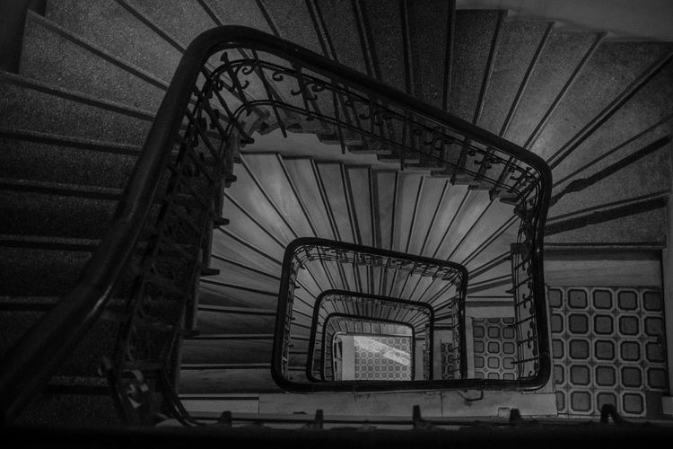 Staircase Steps And Staircases Architecture Railing Built Structure Spiral Staircase Spiral Indoors  No People Metal High Angle View Day Pattern Diminishing Perspective Empty In A Row Design Absence Directly Above Repetition Ceiling Vertigo Istanbul Karaköy Black And White My Best Photo