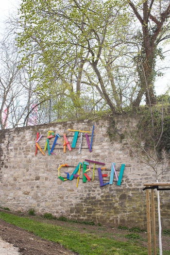 Graffiti on wall in park