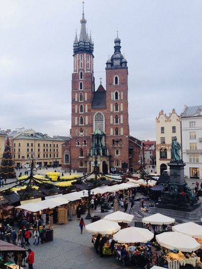 Cracovia Rynek Główny Cracovia  Krakow Poland Polonia  Architecture Building Exterior Built Structure City Large Group Of People Group Of People Crowd