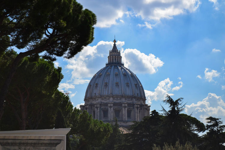 High Section Of St Peter Basilica By Trees Against Sky