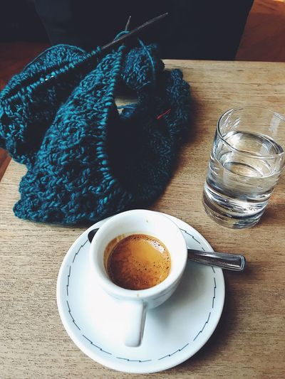 Knitting & Espresso Coffee Shop Cafe Yarn Knitting Coffee Break Afternoon Coffee Espresso Coffee Cup Table Coffee - Drink Food And Drink Drink Refreshment Indoors  No People Day First Eyeem Photo