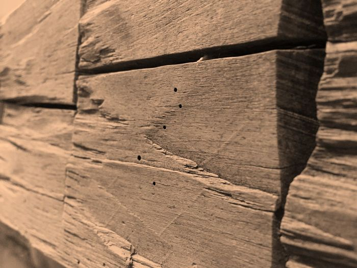 Wooden Fireplace Mantel Backgrounds Close-up Day Detail Focus On Foreground Full Frame Hand Hewn Hand Hewn Beams Natural Pattern Nature No People Outdoors Selective Focus Tranquility Wood