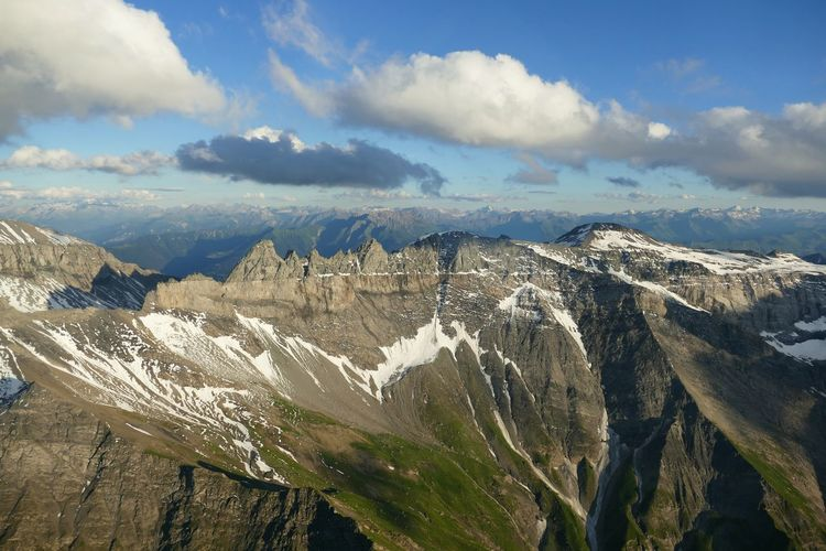 Panoramic high angle view of the european alps