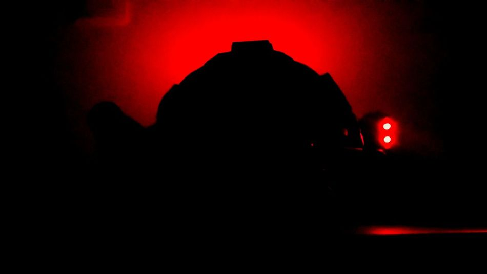 Illuminated Outline Dark Red Focus On Shadow Hi! Tactical Tacticalflashlight Thats Life YOLO! Flash Light Fight Night Casque Helmet Amazing Silhouette Vibrant Color
